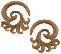 Large Gauge Sawo Wood Feathered Spiral Earrings