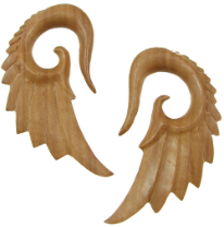 Sawo Wood Seraphim Wing Hook Gauge Earrings