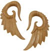 Sawo Wood Seraphim Wing Hook Earrings, 00 gauge