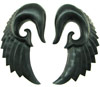 1-1/16 inch Black Ebony Wood Seraphim Wing Hanging Earrings