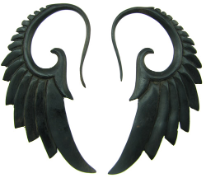 Ebony Wood Seraphim Wing Hanging Gauge Earrings