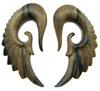 5/8 inch Brown Ebony Wood Hanging Seraphim Wing Earrings