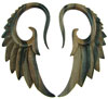 6 gauge Brown Ebony Wood Hanging Seraphim Wing Earrings
