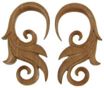 Large Gauge Sawo Wood Hanging Fancy Bird's Tail Earrings
