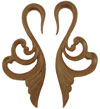 Sawo Wood Hanging Fancy Swan Earrings, 4 gauge