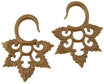 Sawo Wood Hanging Lacy Star Gauge Earrings