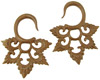 Sawo Wood Hanging Lacy Star Earrings, 4 gauge - 6 gauge