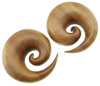 2 inch Sawo Wood Spiral Earrings