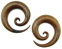 Large Gauge Sawo Wood Spiral Earrings