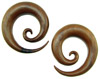 3/4 inch Sawo Wood Spiral Earrings