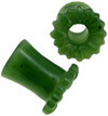 Green Jade Double-Flared Plugs with Sunflower Face, 00 gauge (pair)