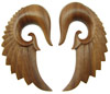 1 inch Sawo Wood Seraphim Wing Hook Earrings
