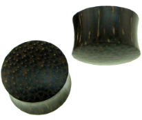 Solid Palm Wood Saddle Plugs, 8 gauge - 1-1/4 inch