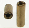 Bamboo Cylinder Plugs with Burnt 3 Lines Designs, pair, 7 gauge