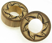 Bamboo Cylinder Plugs, Burnt Jungle Flower Designs
