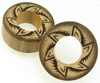 Bamboo Cylinder Plugs with Burnt Jungle Flower Designs, pair, 1 3/8 inch diameter