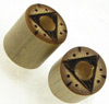Bamboo Cylinder Plugs with Burnt Pyramid Designs, pair, 1/2 inch diameter