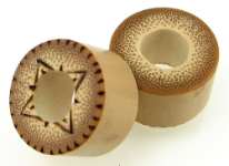 Bamboo Cylinder Plugs, Burnt 4-Pointed Stars
