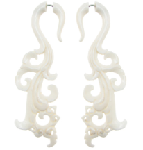 Tall Lacy Bone Fake Gauge Earrings