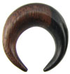 2 gauge Ebony Wood Septum Pincher with brown and black striping