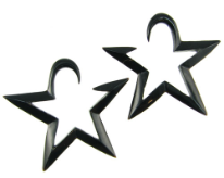Large Gauge Hanging Horn Star Earrings
