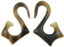 Horn Angled S Hook Earrings, 10 gauge - 8 gauge