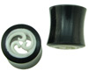 Hollow Horn Saddle Plugs with Triple Wave Carved Bone Inlays, 0 gauge