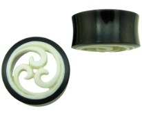 Hollow Horn Saddle Plugs, Triple Wave Carved Bone Inlays
