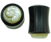 1 gauge Horn Saddle Plugs with Spiral Shell Carved Mother of Pearl Inlays