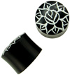 Horn Saddle Plugs with Painted Lotus, 9/16 inch diameter (pair)