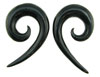 00 gauge Pointy Horn Spiral Earrings