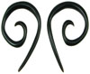Pointy Horn Spiral Earrings, 8 gauge