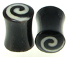 Horn Saddle Plugs with White Bone Dust Spiral Inlays, pair, 2 gauge