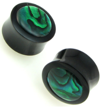 Horn Saddle Plugs, Green Paua Shell Inlays, 1 inch