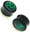 Horn Saddle Plugs with Green Paua Shell Inlays, pair, 1 inch diameter