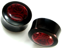 Horn Saddle Plugs, Red Paua Shell Inlays, 1/2 inch - 3/4 inch