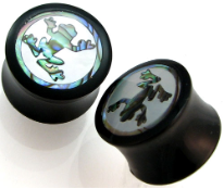 Horn Saddle Plugs, Frog Shell Inlays, 5/8 inch
