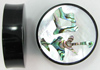 Horn Saddles with Abalone and Mother of Pearl Shell Inlays, Harmony Japanese Kanji, pair, 1 3/4 inch diameter