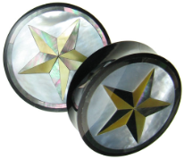 Horn Saddle Plugs, Mother of Pearl Shell Inlays, Star, 1-1/2 inch