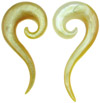 Golden 00 gauge Mother of Pearl Question Mark Spiral Earrings