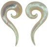 Light Pink 00 gauge Mother of Pearl Question Mark Spiral Earrings