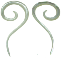 Mother of Pearl Question Mark Spiral Earrings, 18 gauge - 00 gauge