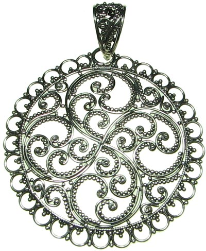 Sterling Silver Round Filigree Disc Pendant