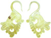 Mother of Pearl Fancy Bird Tail Earrings, 8 gauge