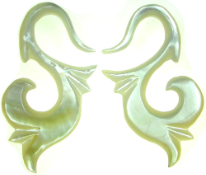 Mother of Pearl Shell S Hook Earrings, 11 - 2 gauge