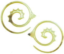 Large Gauge Mother of Pearl Fancy Spiral Earrings