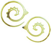 Mother of Pearl Fancy Spiral Earrings, 8 gauge