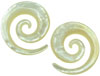 Medium Mother Of Pearl Spiral Earrings, 18 gauge - 00 gauge