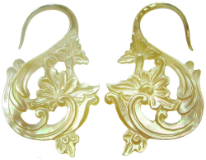 Mother of Pearl Floral S Hook Earrings, 6 gauge - 14 gauge