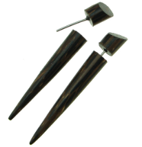 Palm Wood Taper Fake Gauge Spike Earrings